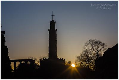 Sun rising over Calton Hill (2)