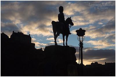Royal Scots Greys memorial at sunset, West Princes Street Gardens (1)