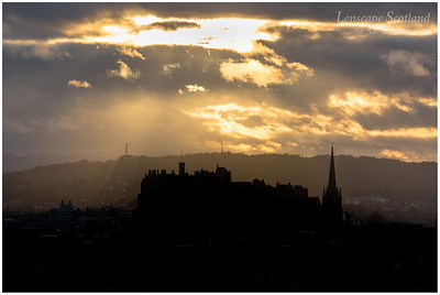 Sunset over Edinburgh Castle from Salisbury Crags