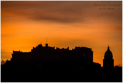 Edinburgh Castle and West Register House dome silhouetted against winter dawn (2)