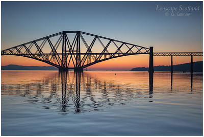 Forth Bridge dawn silhouette from Queensferry