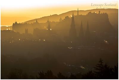 Central Edinburgh silhouette in early morning sunshine