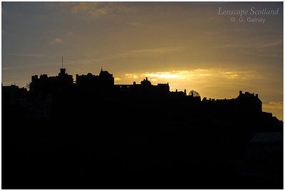 Edinburgh Castle silhouette from West Princes Street Gardens