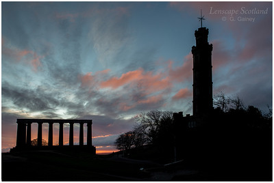 Calton Hill - the National Monument and Nelson Monument at dawn (2)