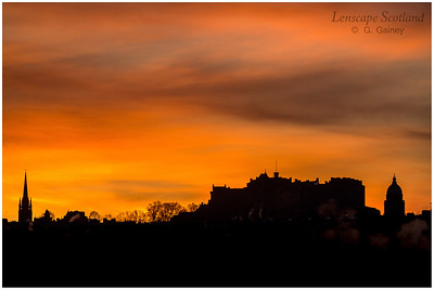 Edinburgh Castle and West Register House dome silhouetted against winter dawn (1)