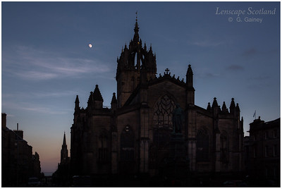 Moon over St Giles Cathedral and the Tron