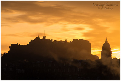 Edinburgh Castle and West Register House dome silhouetted against winter dawn (3)