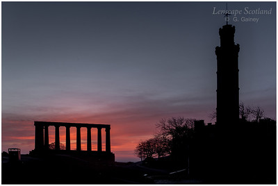 Calton Hill - the National Monument and Nelson Monument at dawn (1)