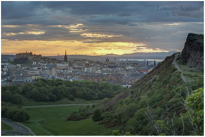 Sunset over Edinburgh Castle and Salisbury Crags (2)