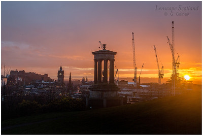 Calton Hill sunset, with cranes (1)