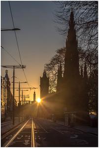 Sun rising on Princes Street