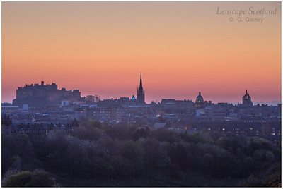 Sunset over Edinburgh Castle from Holyrood Park (2)