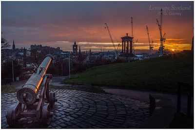 Calton Hill sunset, with cranes (2)