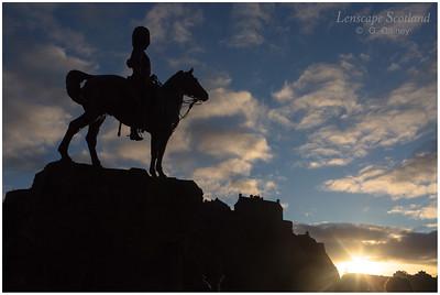 Royal Scots Greys memorial at sunset, West Princes Street Gardens (2)