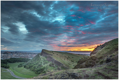 Summer solstice sunset from Arthur's Seat