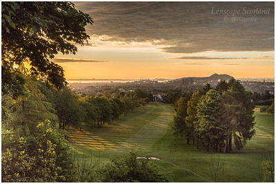 Early morning light at Corstorphine Hill, looking towards central Edinburgh