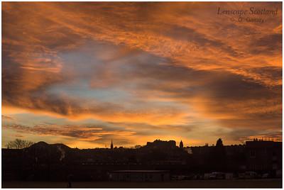 Winter sunrise over Edinburgh Castle from Craigleith (1)