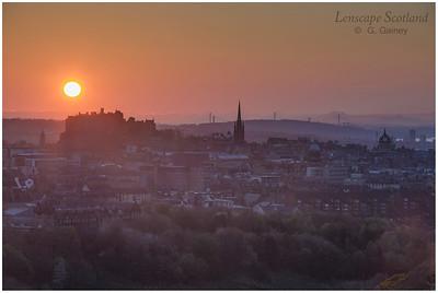 Sunset over Edinburgh Castle from Holyrood Park (1)