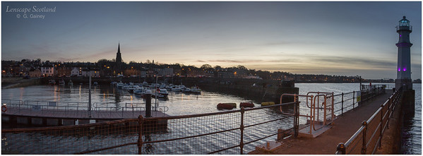 Newhaven harbour dusk panorama