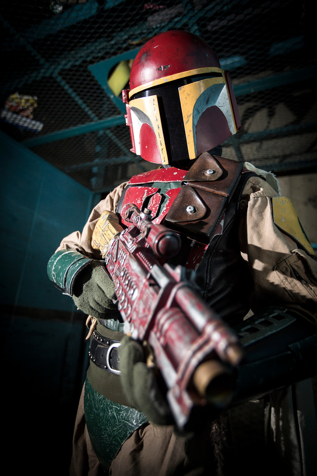 Dave Myers as a Mandalorian