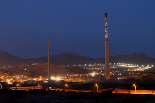 The last view of the Asarco skyline, April 13, 2013.  Small stack - 612 feet high, built in 1951.   Main stack -  828 feet high, built in 1967.