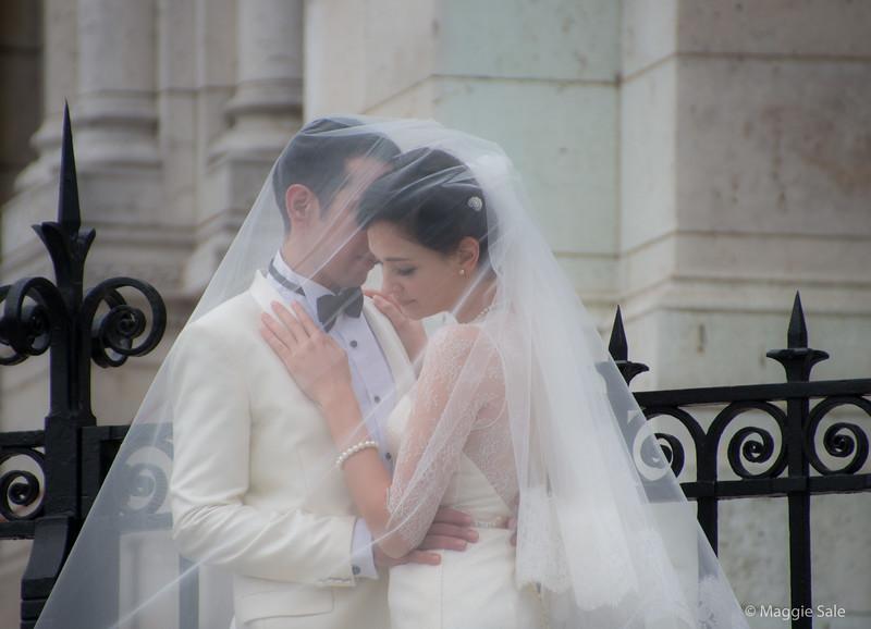 """Bride and Groom"" (models) at Sacre Coeur, Monmatre"