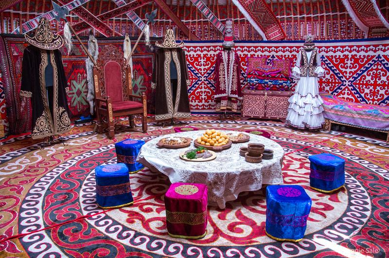 Inside a yurt at a Kazakhstan cultural event near The Louvre.