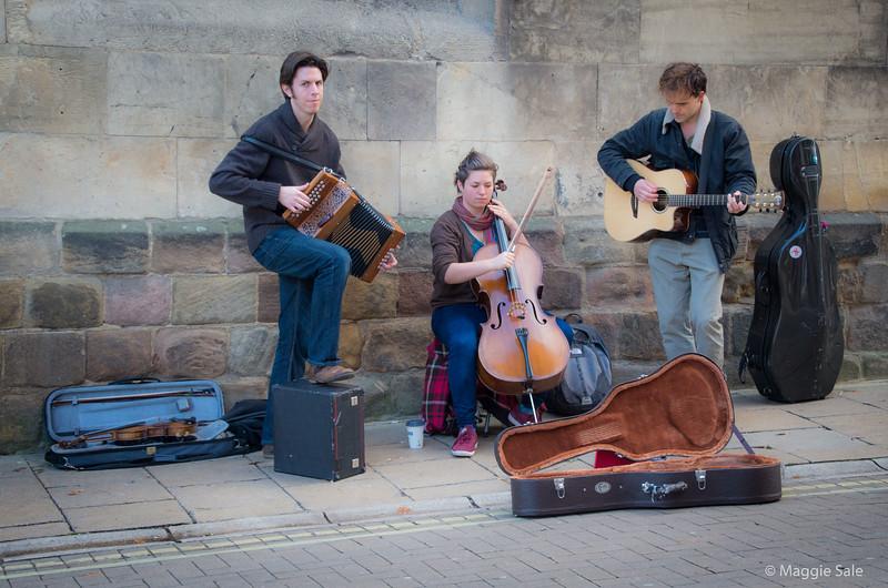 Street musicians in York