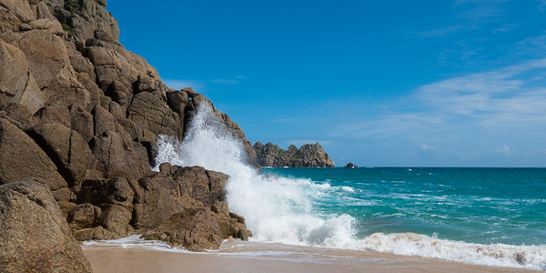 Waves crashing on Porthcurno Beach, Cornwall