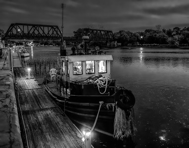 Tug at Night - BW