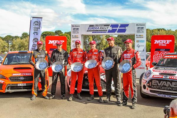 Cams Australian Rally Championships Podium Celebrations - ARC- Podium 2018- J.McCarthy, H.Bates, M.Potter, S.Glenney, B.Searcy, E.Evans.