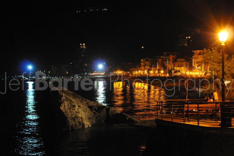 Monterossa by night in the Cinque Terre