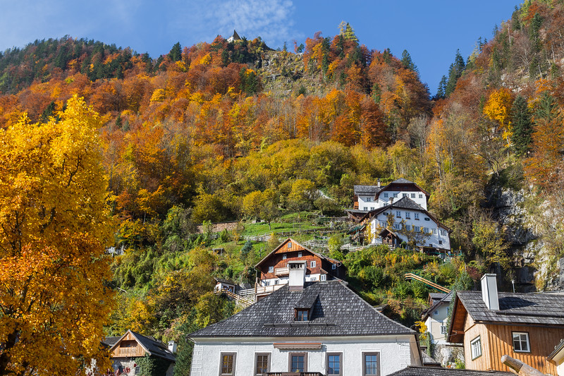Buildings in Hallstatt in the Autum