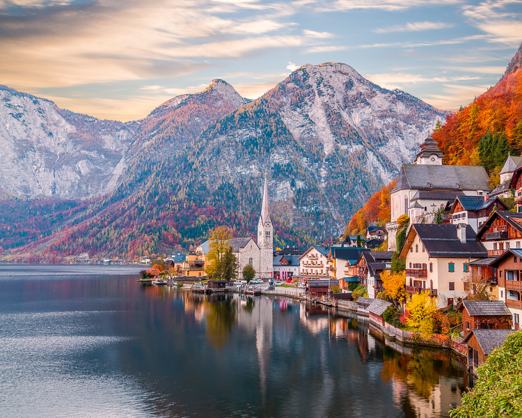 Hallstatt in Austria during the Autumn
