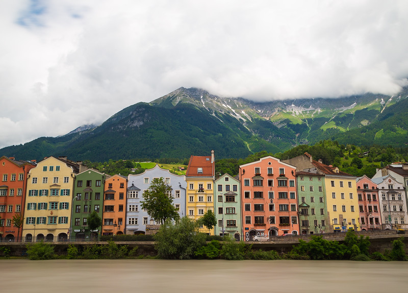Colourful Buildings along the River Inn in Innsbruck