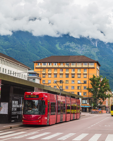 Buildings and Trams in Innsbruck