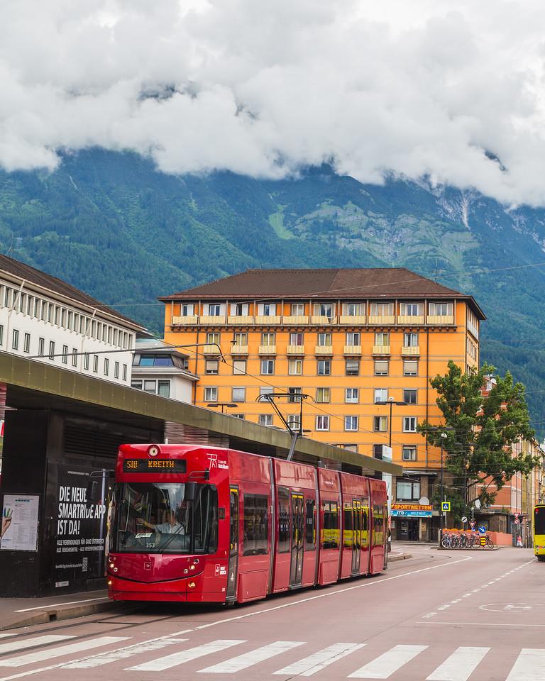 Buildings and Trams in Innsbruck