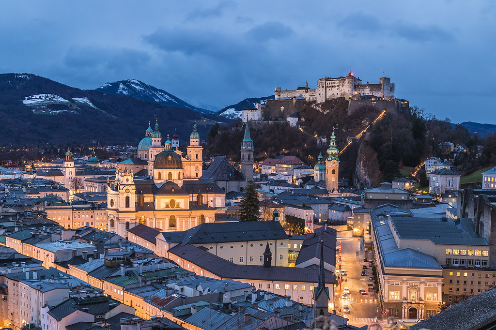 Salzburg skyline at twilight