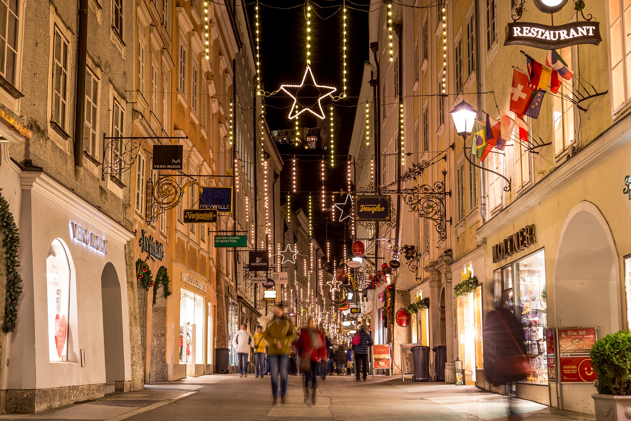 Getreidegasse in Salzburg at Christmas