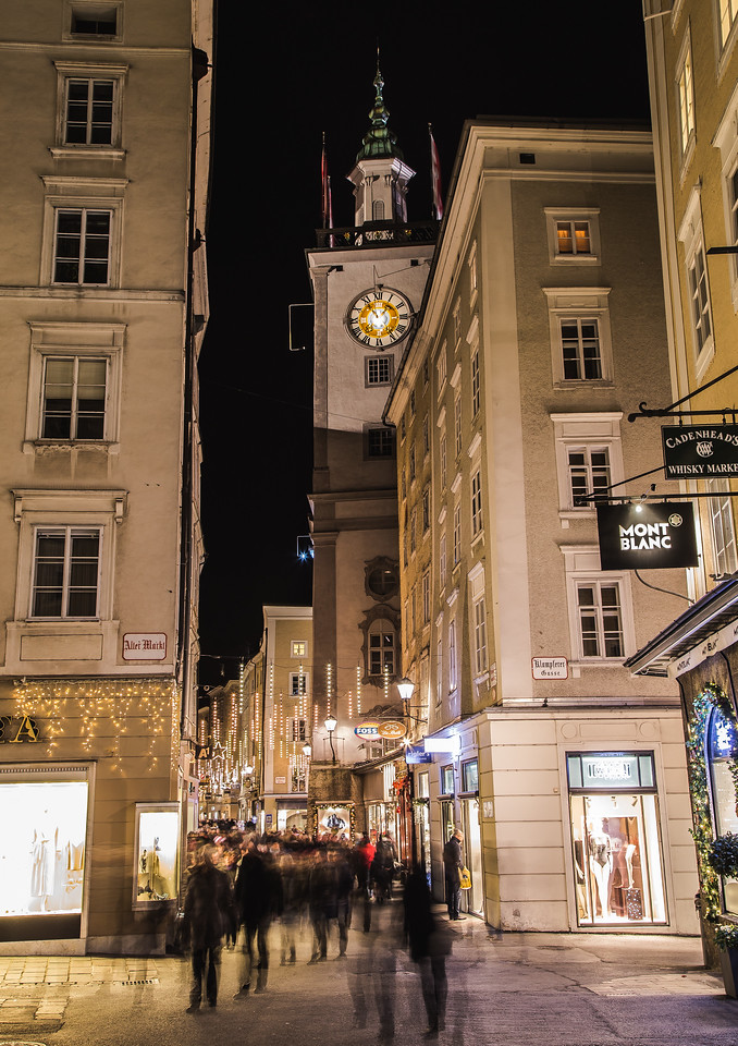 Judengasse and Kranzlmarkt in Salzburg at Night