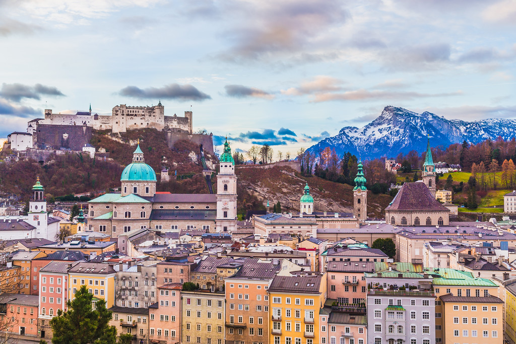 High view of Salzburg showing Buildings and Mountains