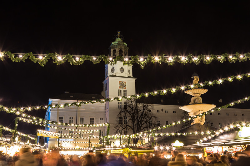 Salzburg Christmas Market in the Residenzplatz at Night