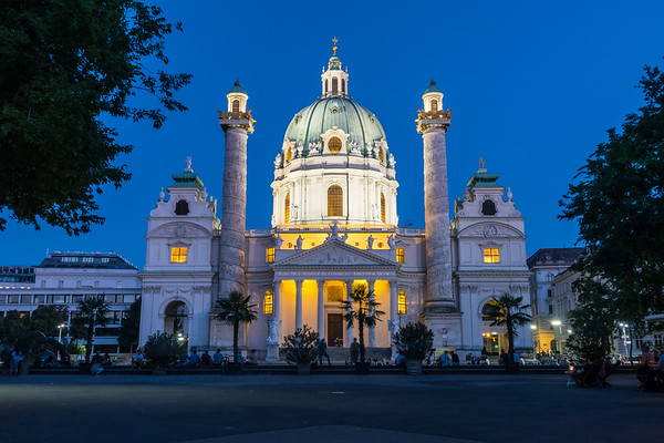 Karlskirche in Vienna at night