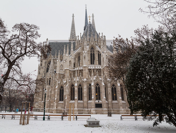 Votice Church in Vienna in the Winter with Snow
