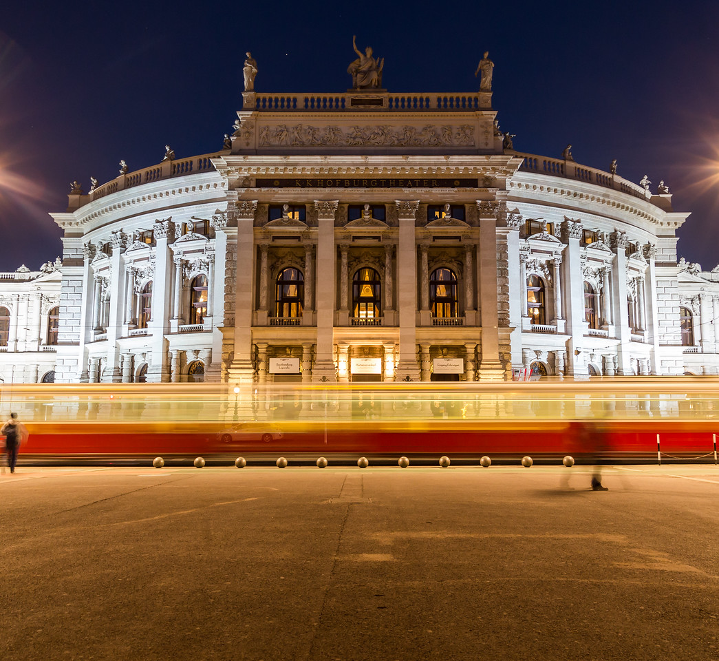 Burgtheater in Vienna at night.