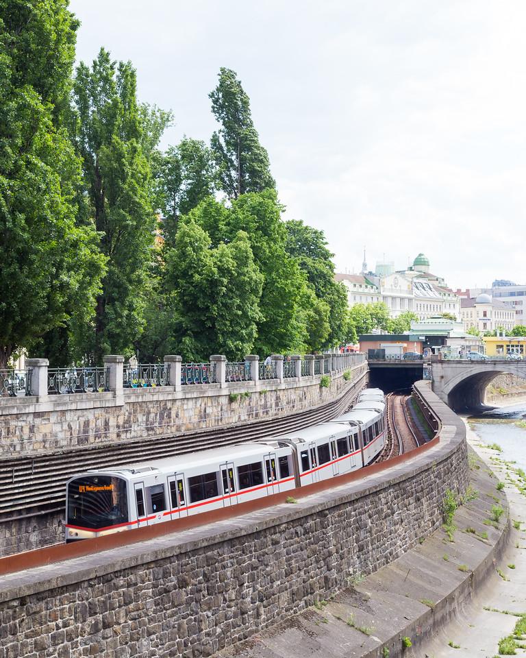 Bahn trains in central Vienna