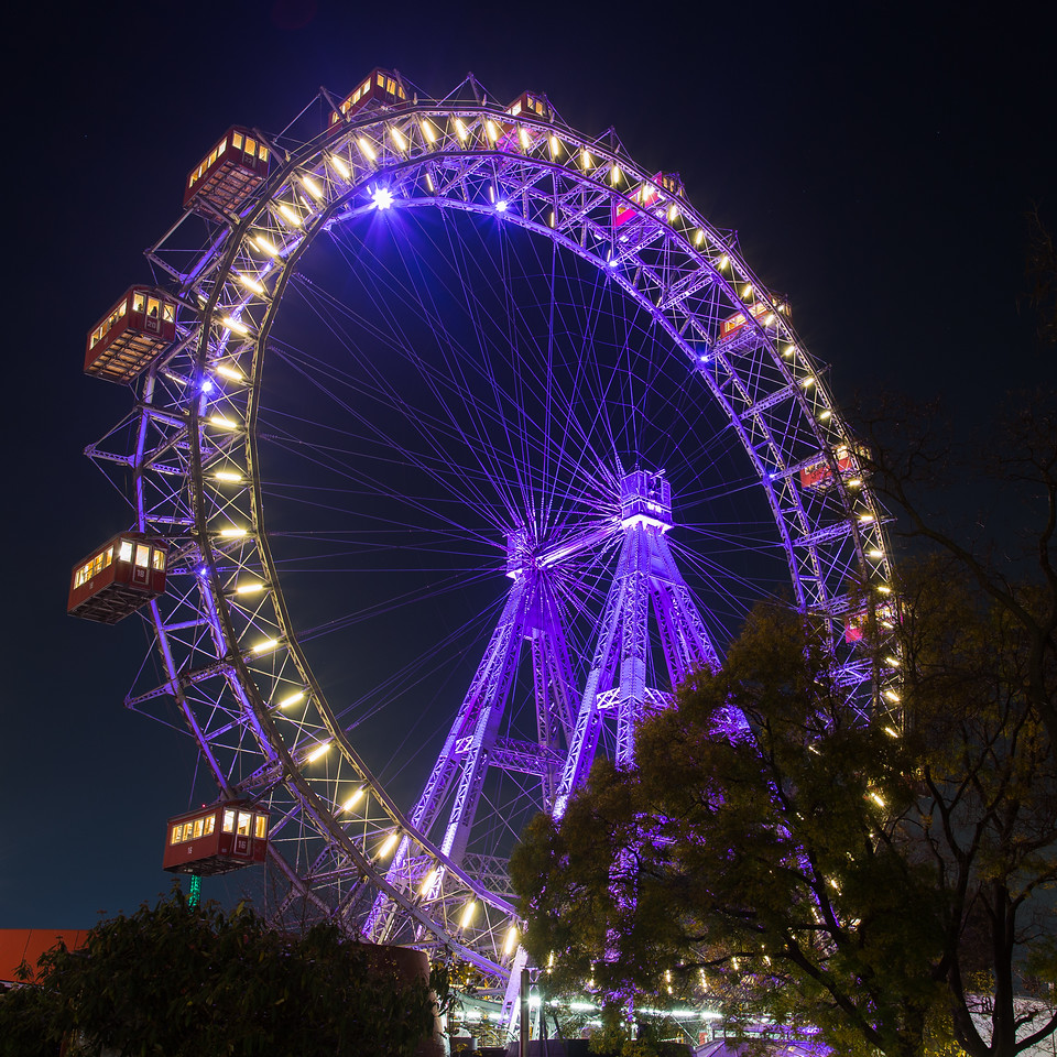 Wiener Riesenrad, Prater at Night