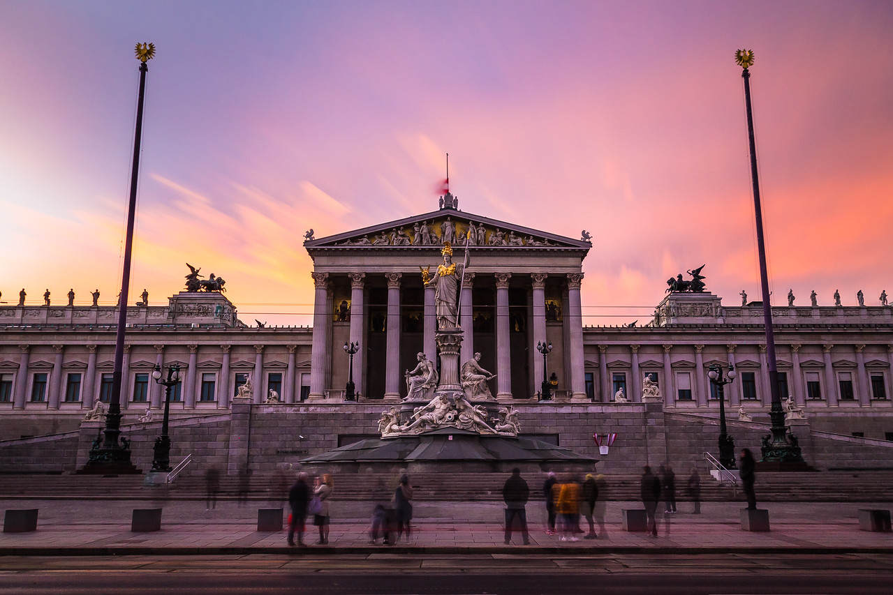 Austrian Parliament at Sunset