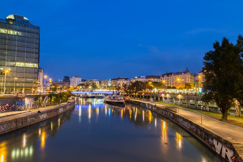 Danube Canal in Vienna During the Blue Hour
