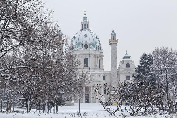 Karlskirche Vienna in the winter